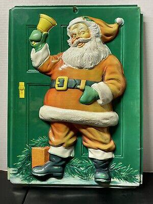 Rare Vintage Santa Christmas 3D VACUFORM Molded WALL Decoration.