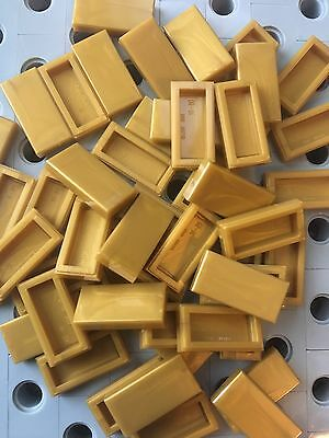 Lego Gold Warm Gold 1x2 Flat Tiles Smooth Finishing 1 x 2 Floor Roof 50pcs