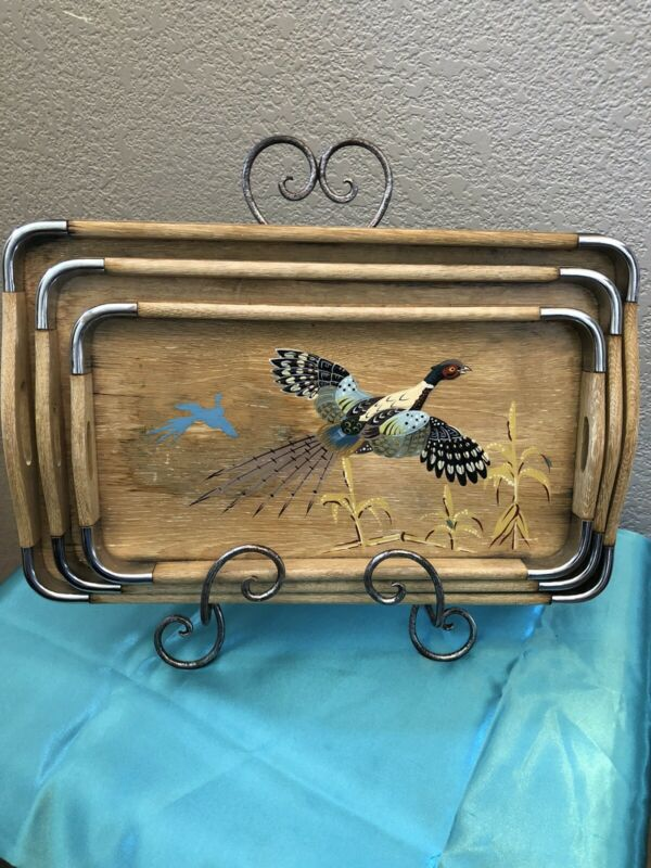 Vintage 3 Hand Painted Bamboo Nesting Tray Japan pheasant / tropical appetizer