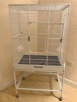 Florida Bird Cage With Stand- White - For Parakeets & Parrots