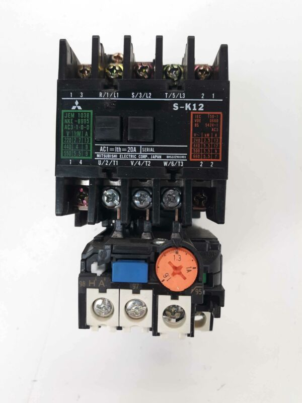 Mitsubishi S-K12 Contactor 100v Coil w/ TH-K12KP Overload Relay 1-1.6A