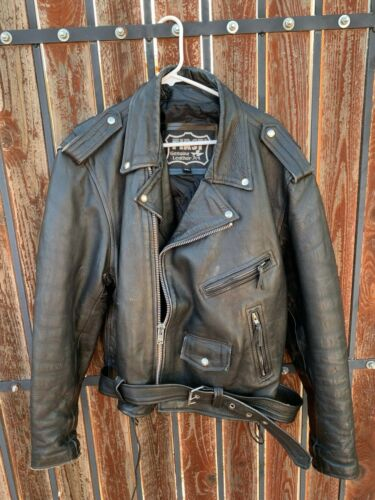 80s First Black Leather Zip Distressed Men
