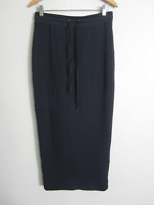 Anthropologie Bailey 44 Navy French Terry Drawstring Maxi Skirt Back Vent XS