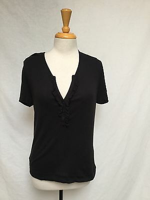 RALPH LAUREN Short Sleeve Ruffle Front T-Shirt-Black Size Large