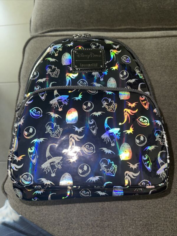 2021 Disney Parks Nightmare Before Christmas Holographic Loungefly Backpack
