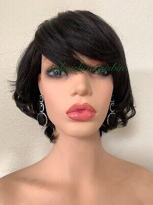 Pixie short dark brown Wavy Curly wig Heat Resistance - Dark Pixie