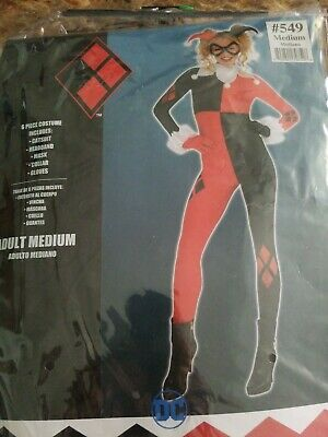 Batman Harley Quinn Jumpsuit Costume Adult, With Mask and More Size Medium #8 ()