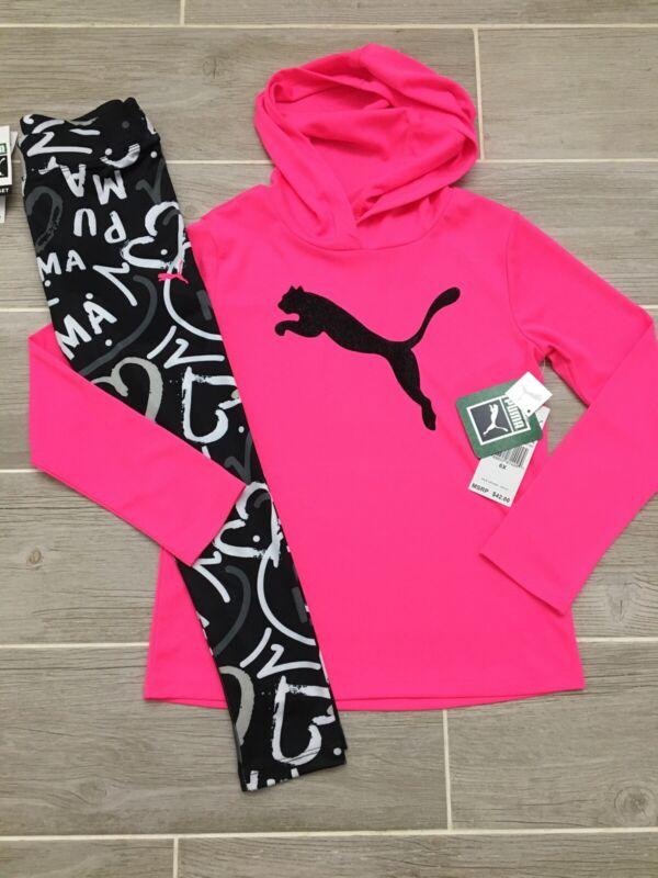 Puma Girls Outfit Pink Shirt & Logo Leggings Size 6x New NWT $42 Cute Spring