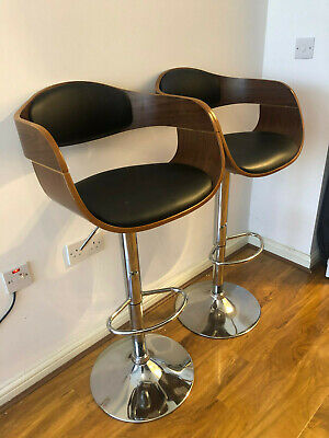 Brown Wood/Leather Bar Stool Chair x2
