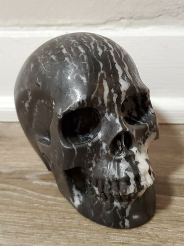 Zebra Jasper Huge Carved Crystal Skull Realistic Healing