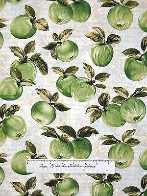 Apple Picking Time Fabric - Green Granny Smith Apples on Cream - Benartex -