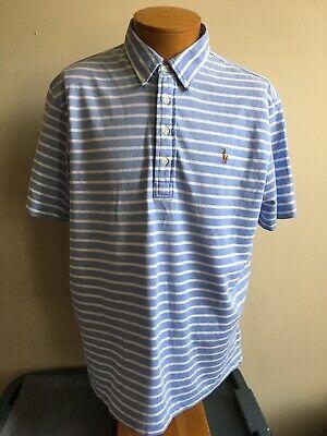 Blue Knit Polo Shirt (Mens Polo Ralph Lauren Knit Oxford Blue Striped Golf Polo Shirt Size XL)