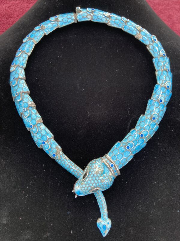 RARE Vintage Taxco Reticulated Sterling Silver & Enamel Serpent Choker
