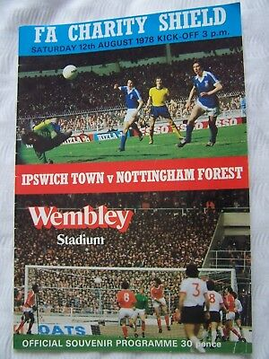 FOOTBALL PROGRAMME, IPSWICH TOWN, NOTTINGHAM FOREST, FA CHARITY SHIELD, 1977