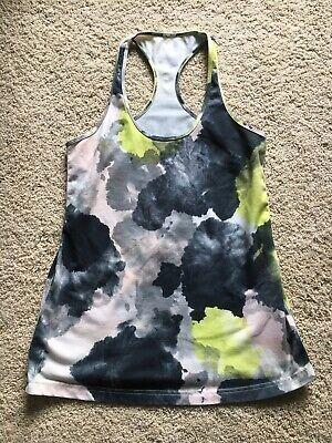 Athleta Fitness Tank Top Workout Run Yoga Shirt Blue White Green Design (Medium)
