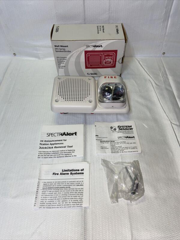 NEW System Sensor SP2W2415 Strobe and Speaker WHITE WALL SP2 SERIES