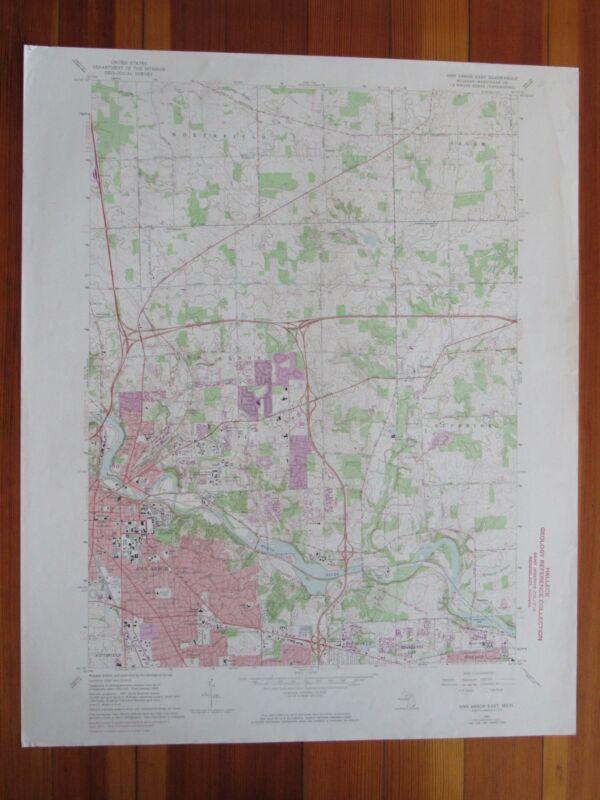 Ann Arbor East Michigan 1974 Original Vintage USGS Topo Map