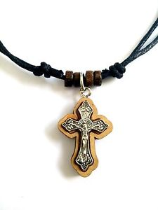 Unisex Orthodox Greek Pendant Necklace Chain Wood Cross Crucifix / 20