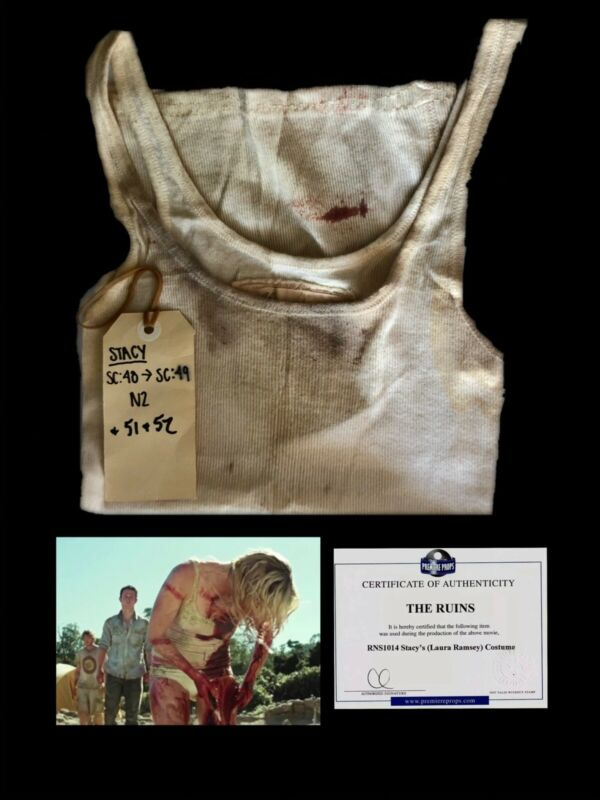 THE RUINS HORROR FILM 2008 BLOODY STAINED TANK TOP SCREEN WORN COA RAMSEY MOVIES