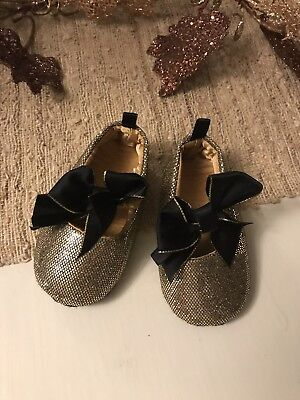 Baby Girls Gold Sparkle Bow Mary Janes Shoes Holiday size 3