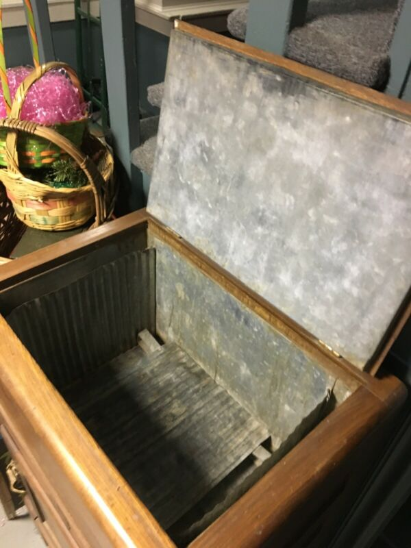 antique wooden ice chest