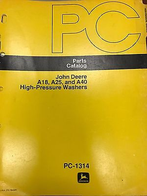 John Deere Parts Catalog A18 A25 A40 High Pressure Washers Pc1314 Used