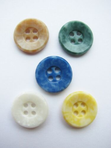 Lot of 5 Different Color Vintage Colt Buttons Pattern #61 Cornell