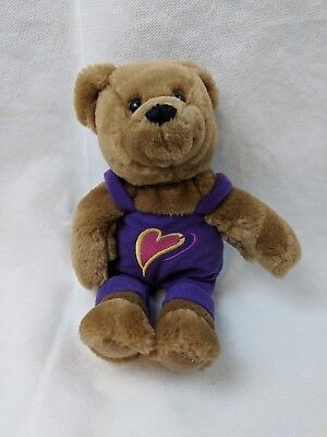 "Hallmark Cards Plush Kiss Kiss Teddy Bear Purple Heart Overalls 10"""