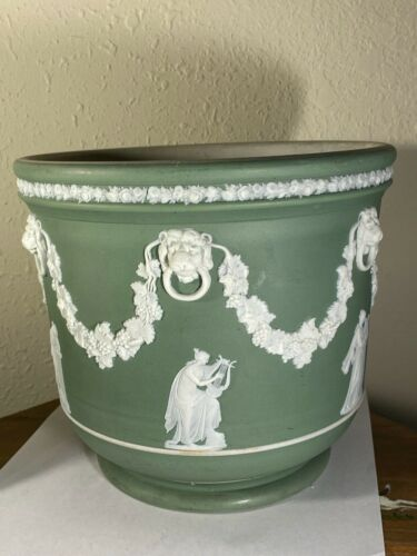 "Wedgwood Jasperware Celadon Cache Pot or Planter 7 1/8"" Asterisk Mark Antique"
