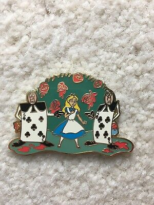 RARE Alice In Wonderland and Playing Cards & Roses LE 250 Disney Pin