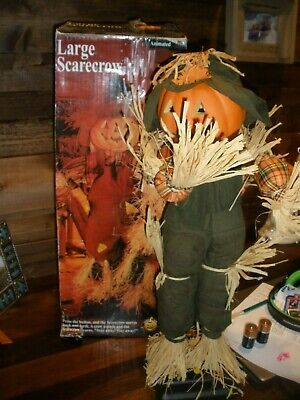 """VTG LARGE Gemmy Halloween Animated Scarecrow Motion & Sound with Box RARE 22"""""""
