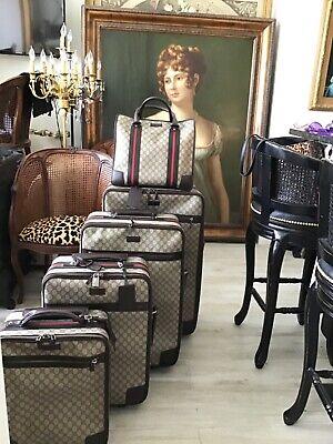 Vtg Gucci Supreme 5 pc luggage set + Gucci 14 pc Bar MINT!