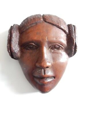 ETHNOGRAPHIC AFRICAN  DETAILED CARVING HEAD   COLONIAL ART DECO  Leia HAIRSTYLE
