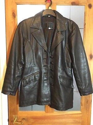 "Santini black Designer 100% Leather jacket XS 40"" chest. Bond . Hipster retro"
