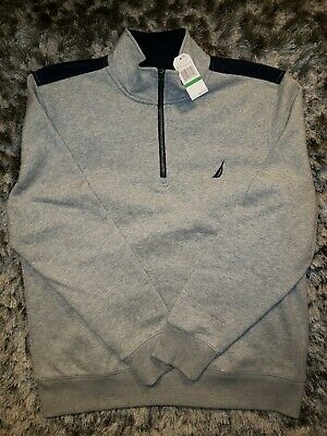 New Nautica 1/4 Zip Fleece Pullover Sweater Grey Size L Retail Price $89.50 NWT.