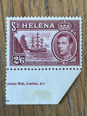 St Helena 1938/44 2/6 Maroon KGVI - SG138 -Very Fine Mounted Mint on Sheet Edge