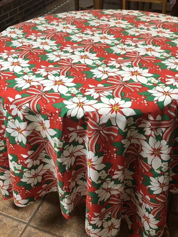 Vintage OBLONG Tablecloth Christmas Poinsettia Holiday Red Holly Fabric