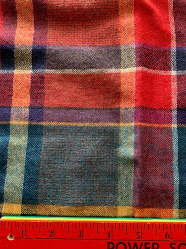 "Pretty Vtg 100% Wool Plaid Fabric 1 Yd + 24"" x 72"" Wide Red Blue Purple"