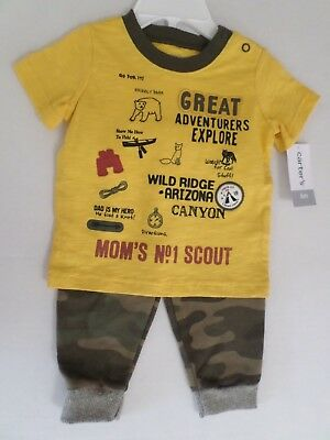 Carter's Baby Boys 2Pc Great Adventure Top & Pants Set Yellow/Green/Multi 6 Mo Great Adventure Pants
