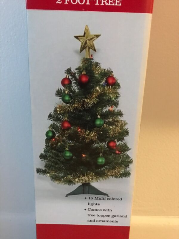 2 FT SMALL Artificial Christmas TREE with Lights and Ornaments  - NEW