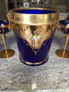Venetian 24k enamelled ice bucket and 6 champagne glasses