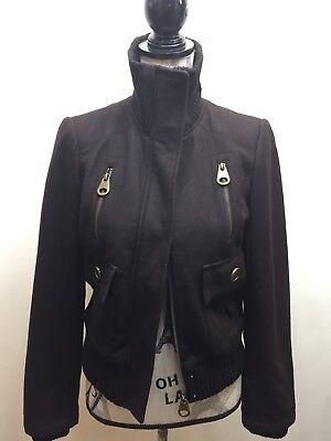 Zara Basic Women Short Wool Bomber Jacket Small Brown for sale  Brampton