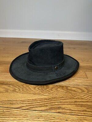 Hatquarters USA By henschel Suede Leather Black Wide Brim Hat Large