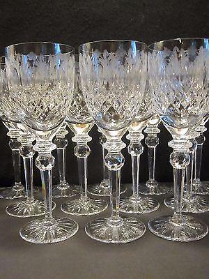 AMAZING SET 12 ROGASKA QUEEN FINE CRYSTAL CUT GLASS XL WINE WATER GOBLETS 12 OZ