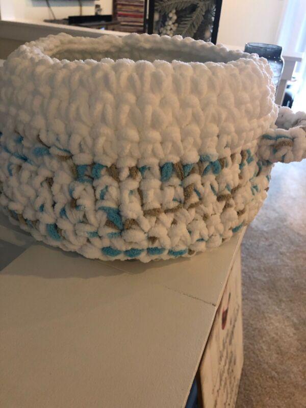 Baby Boy Shower Gift Crochet Basket