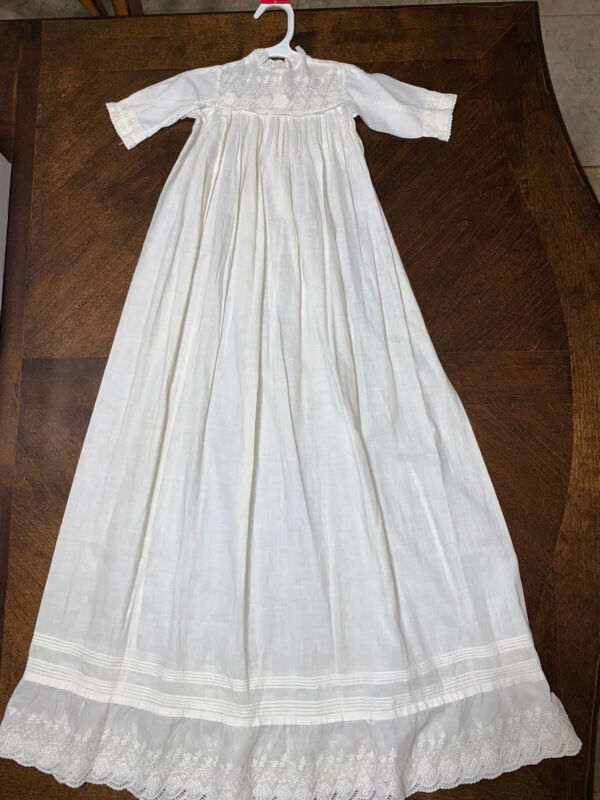 """Antique Long White Cotton Baby Dress for Antique Doll - 38"""" Length"""