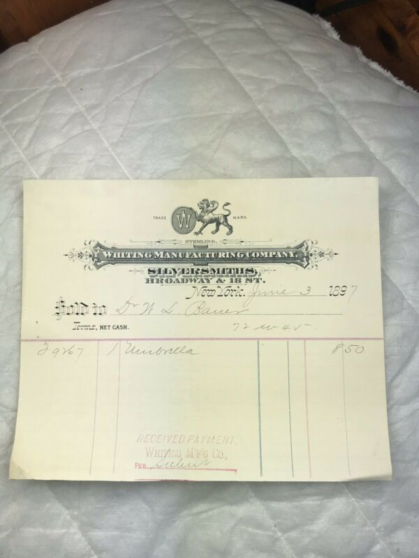 Antique Reciept 1897 Whiting Manufacturing Co R(639)