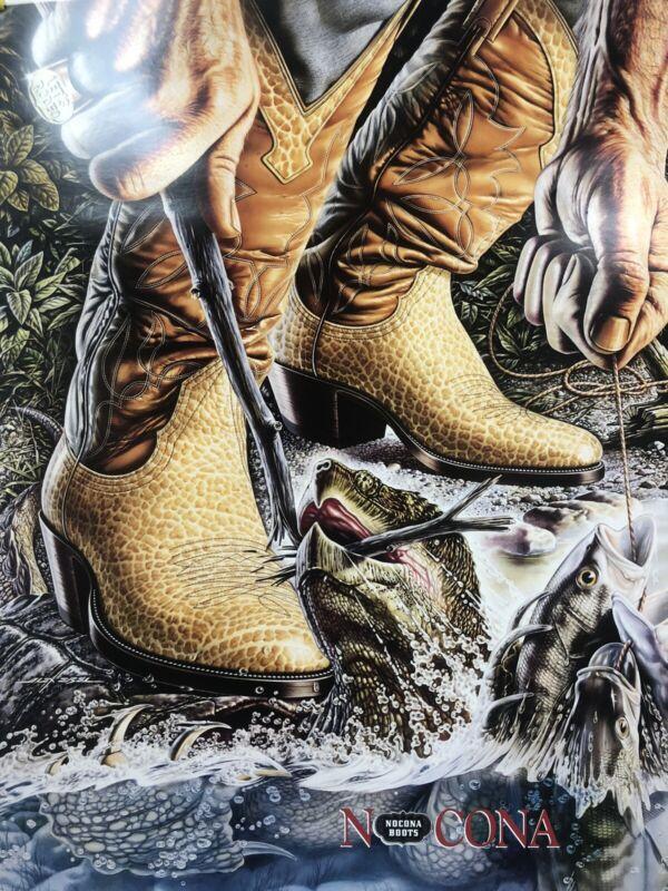 Vintage Nocona Boots Store Display Poster 1979 Alex Ebel Turtle