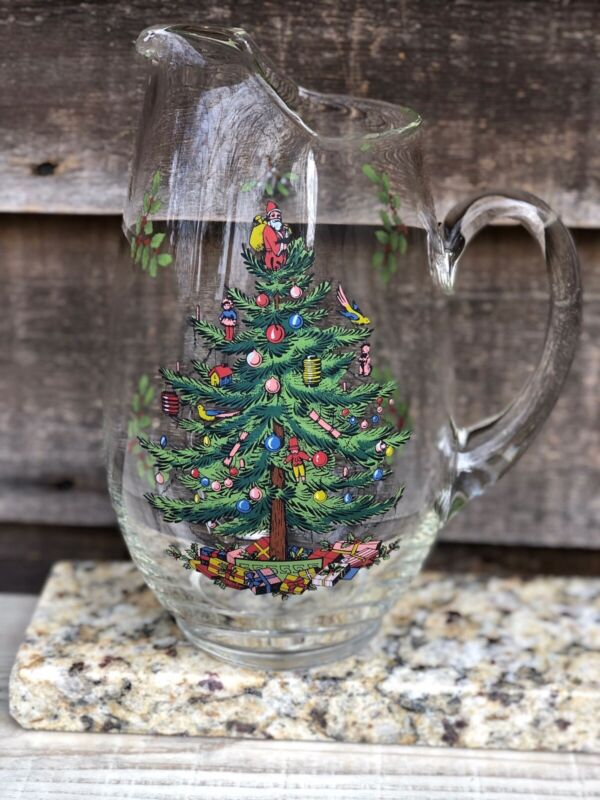 Clear Spode 2.5 Quart Glass Christmas Tree Design Water Pitcher