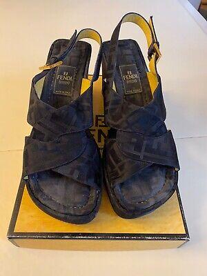 Fendi Platform Sandal, Leather Bottoms, Sz 7.5, Black, Made In Italy